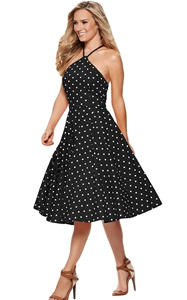 BY610141-2 Black White Polka Dot Flared Vintage Dress