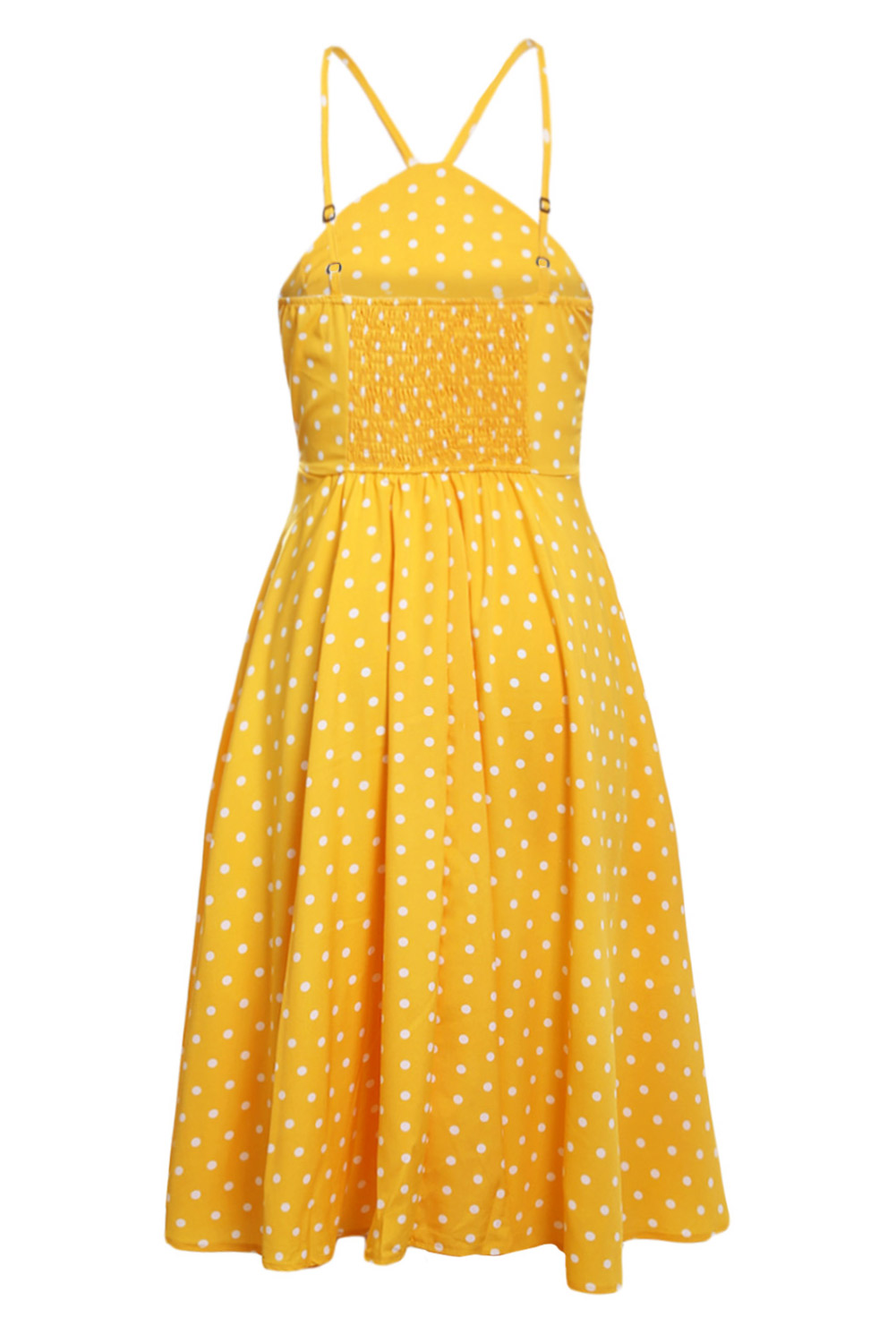 BY610141-7 Yellow White Polka Dot Flared Vintage Dress