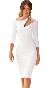 BY610165-1 White Asymmetric Cutout Shoulder Bodycon Midi Dress
