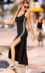 BY610167-2 Racer Stripe Detail Black Sleeveless Maxi Dress