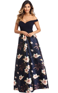 BY610173-5 Off Shoulder Sweetheart Neck Bodice Floral Print Gown