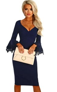 BY610190-5 Navy Crochet Frill Sleeve Midi Dress