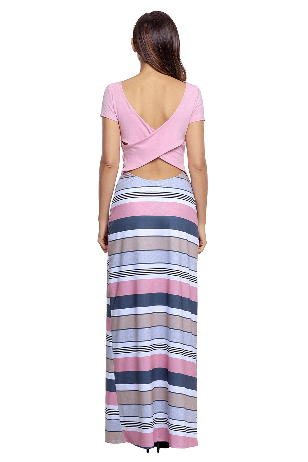 BY61482-10 Pink Crisscross Back Muliticolor Maxi Dress