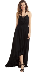 BY61510-2 Lace Up V Neck Ruffle Trim Hi-low Maxi Dress