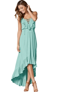 BY61510-9 Lace Up V Neck Ruffle Trim Hi-low Maxi Dress