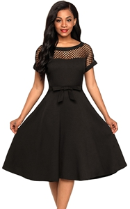 BY61862-2 Fishnet Insert Black Bowknot Embellished Dress