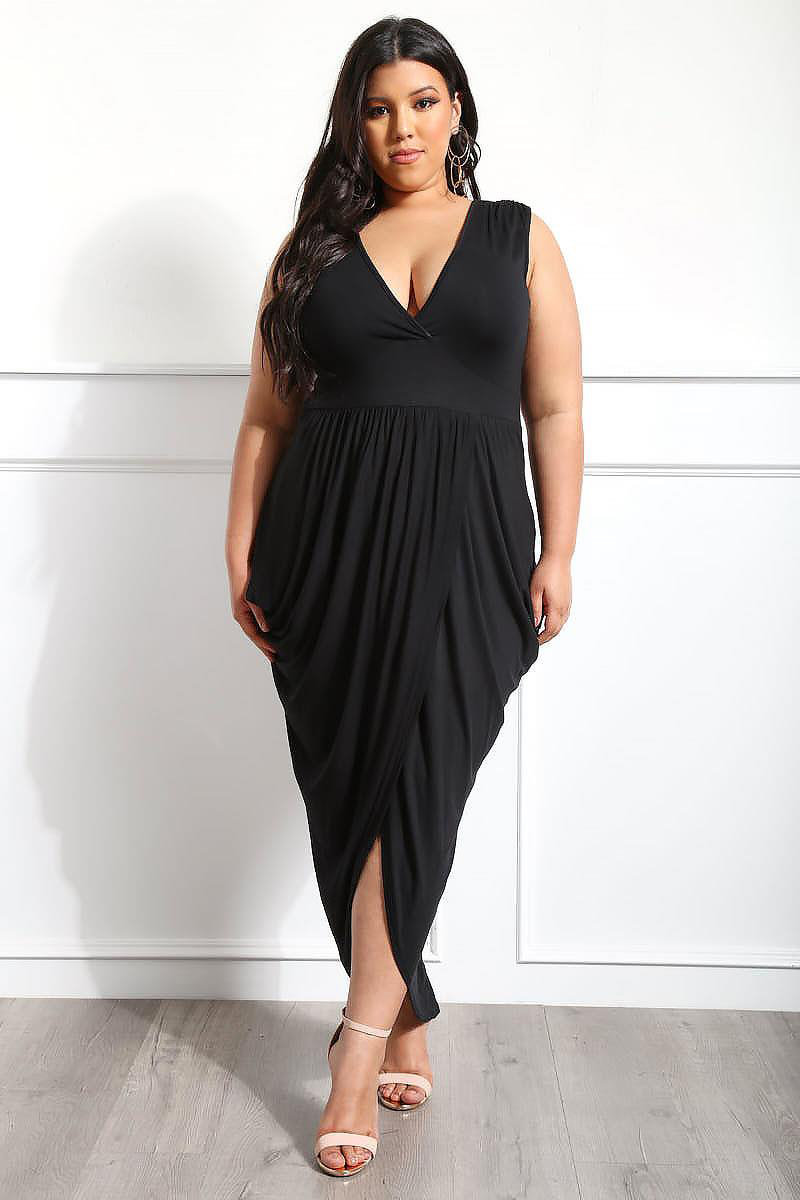 BY61960-2 Black Partying Draping Maxi Length Plus Size Dress