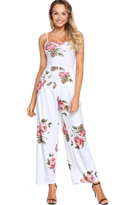 BY64382-1 Navy Blue Floral Print Wide Leg Jumpsuit