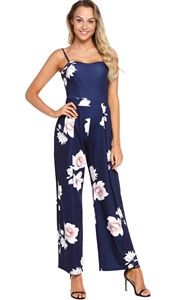 BY64382-5 Navy Blue Floral Print Wide Leg Jumpsuit