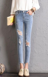 SZ60161 Women Ripped Jeans Bodycon Denim Destroyed Frayed Hole Casual Pants