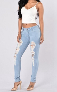 SZ60156 Work Makes Me Distressed Jeans  Light Blue
