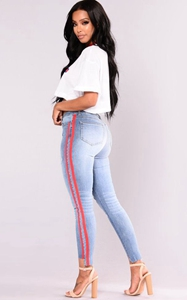 SZ60153 Athlete Jeans  Blue Red jeans with side stripe fashion
