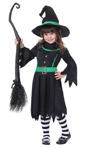 F68141 3PCS Naughty Black Witch Dress Halloween Masquerade Cosplay Girls Costume