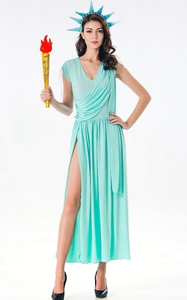 F1842 Patriotic Party Miss Statue of Liberty Adult Cosplay Costume for Women