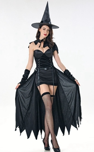 F1841 Sexy black wicked kitten witch costume