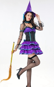 F1843 Womens Adult Purple Witch Halloween Costume