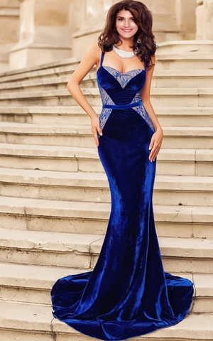 W25062-1 Evening gown of velvet and lace mermaid blue