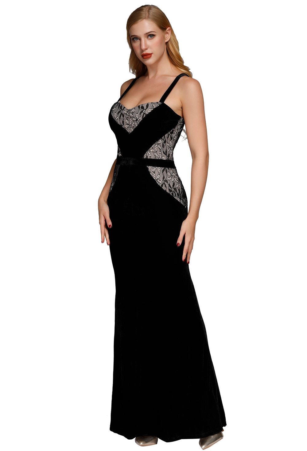 W25062-2 Velvet Evening Dress Black Evening Gown Mermaid Evening Dress For Women