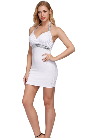F2166-1A White ELEGANT DESIGN-CUT DRESS