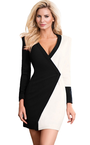 BY220478-2 Color Block Faux Wrap Mini Dress