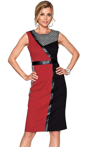 BY220550-2 Red Black Asymmetric Patchwork Leather Trim Sheath Dress