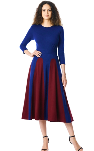 BY610383-3 Color Block  Sleeve Round Neck Midi Dress