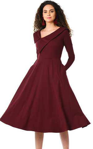 BY610388-3 Burgundy Retro Inspired Asymmetric Collar Flared Dress