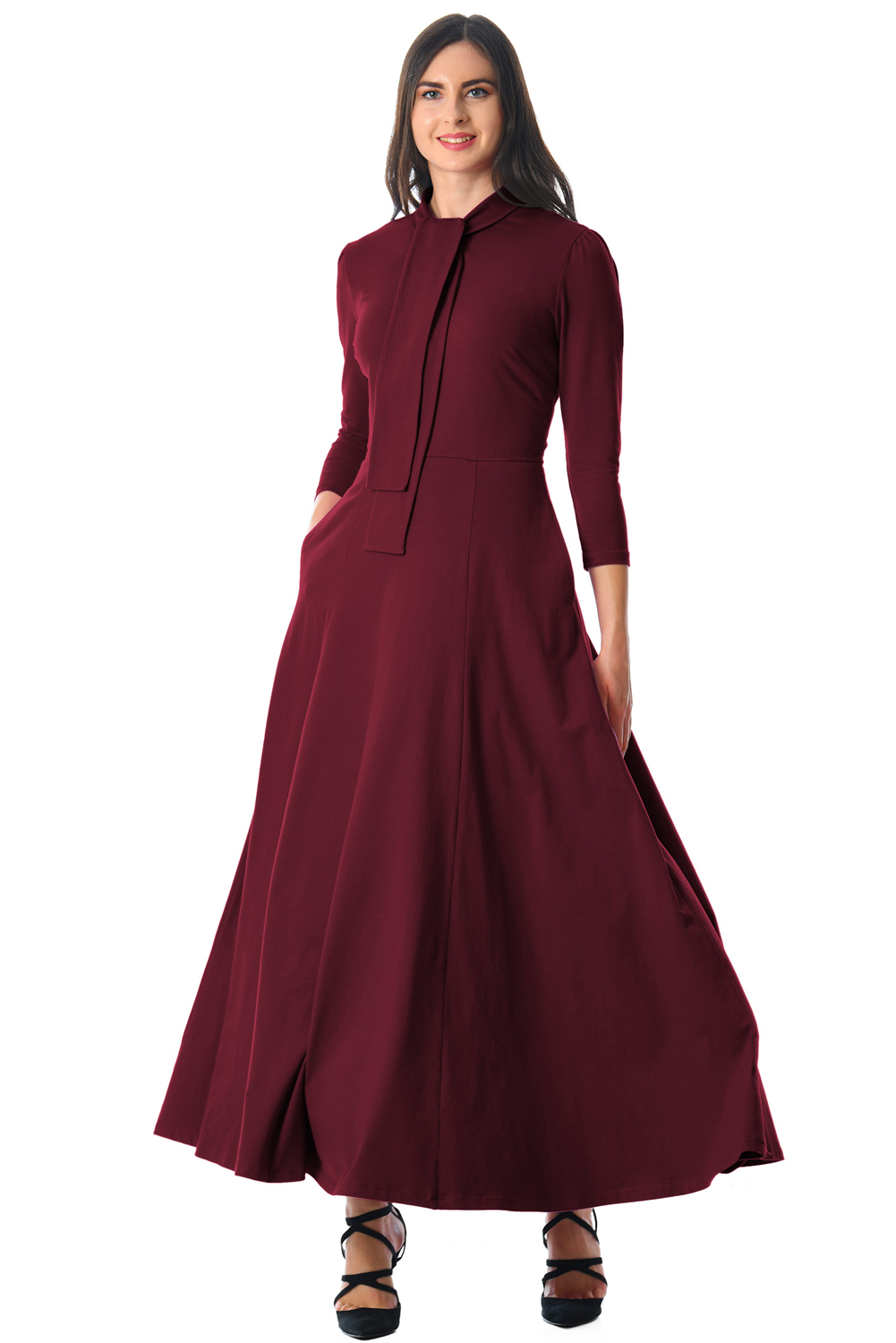BY610398-3 Burgundy Pocketed  Sleeves Tie Neck Maxi Dress