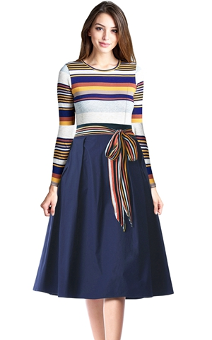 BY610400-22 Navy  Striped Poplin Sash Tie Midi Dress