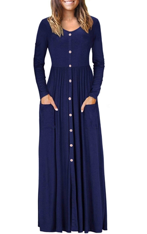 BY610503-5 Hunter  Button Front Pocket Style Casual Long Dress