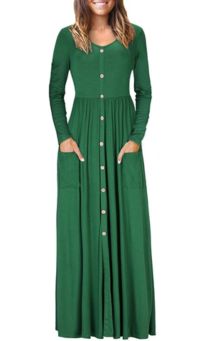 BY610503-9 Hunter  Button Front Pocket Style Casual Long Dress