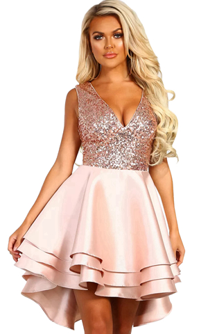 BY220591-10 HEART BROKEN PINK GOLD SEQUIN MULTI LAYER SKATER DRESS