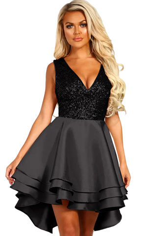 BY220591-2 HEART BROKEN BLACK GOLD SEQUIN MULTI LAYER SKATER DRESS