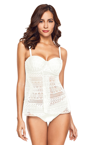 BY410446-1 WHITE LACE FLYAWAY UNDERWIRED TANKINI BATHING SUIT