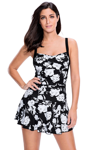 BY410809-22 MONOCHROME PRINT SWIMDRESS WITH ATTACHED SHORTS