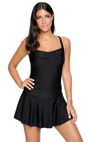 BY410809-2 SOLID BLACK SWIMDRESS WITH ATTACHED SHORTS