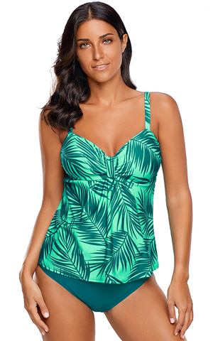 BY410815-9 GREEN TROPICAL LEAF PRINT 2PCS TANKINI SWIMSUIT
