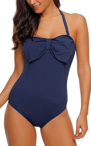 BY410821-5 NAVY BLUE BIG BOW FRONT HALTER MONOKINI SWIMSUIT