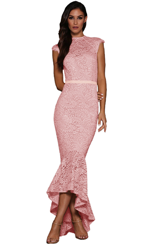 BY610430-10 PINK LACE OVERLAY EMBROIDERED MERMAID DRESS