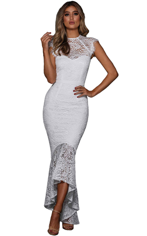 BY610430-1 WHITE LACE OVERLAY EMBROIDERED MERMAID DRESS
