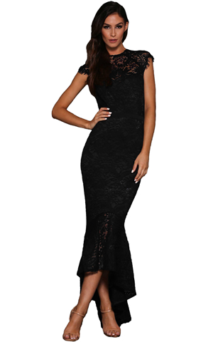 BY610430-2 BLACK LACE OVERLAY EMBROIDERED MERMAID DRESS