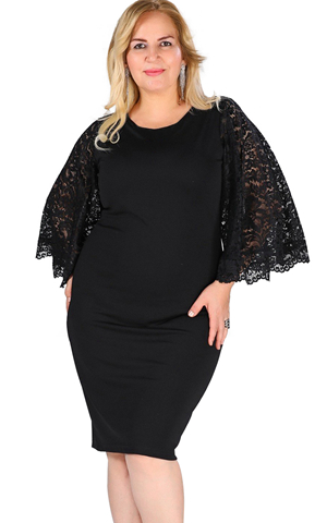 BY610518-2 BLACK LACE FLUTTER SLEEVE PLUS SIZE BODYCON DRESS