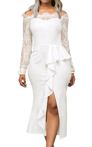 BY610537-1 WHITE RUFFLE DETAIL LACE OFF SHOULDER MIDI DRESS