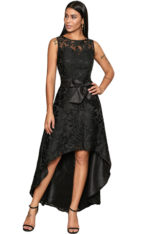 BY610891-2 BLACK SLEEVELESS LACE OVERLAY BOW SASH PARTY DRESS