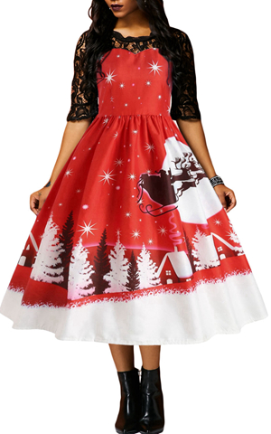 BY610920-1 JINGLE ALL THE THE WAY CHRISTMAS PRINT FLARED DRESS