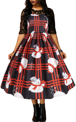BY610920-3 VINTAGE SNOWMAN PLAID CHRISTMAS PRINT FLARED DRESS