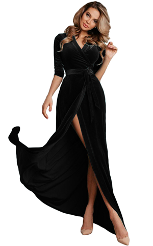 BY610966-2 BLACK SURPLICE V NECK VELVET PARTY GOWN WITH BELT