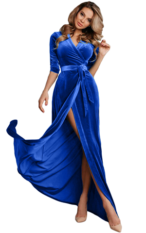 BY610966-5 BLUE SURPLICE V NECK VELVET PARTY GOWN WITH BELT