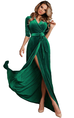 BY610966-9 TURQUOISE SURPLICE V NECK VELVET PARTY GOWN WITH BELT