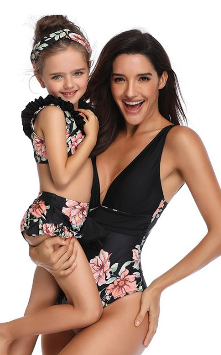 F4727-1 Mommy And Me Floral Printed Swimwear